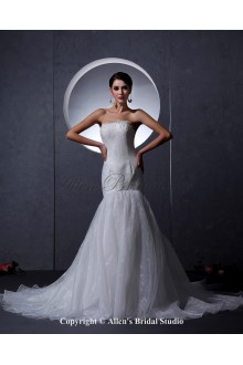 Organza Satin Strapless Chapel Train Mermaid Wedding Dress with Embroidered