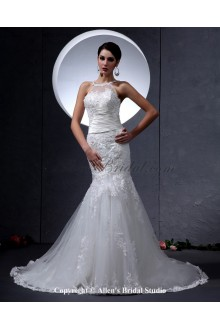 Lace and Satin Round Neckline Chapel Train Mermaid Wedding Dress with Embroidered