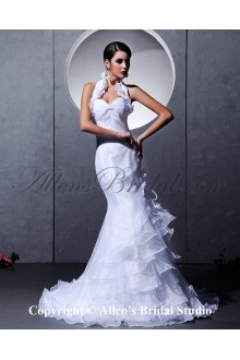Taffeta and Yarn Halter Neckline Chapel Train Mermaid Wedding Dress with Tiered Ruched and Ruffle