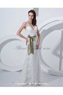 Satin and Tulle V-Neck Court Train Mermaid Wedding Dress