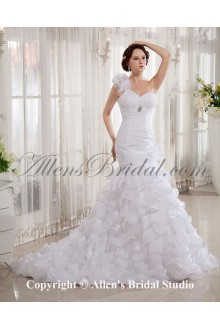 Organza One-Shoulder Court Train Mermaid Wedding Dress with Embroidered and Ruffle