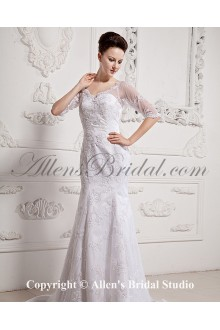 Lace and Satin Sweetheart Chapel Train A-Line Wedding Dress with Half-Sleeves