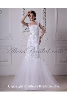 Satin and Lace Shoulder Straps Neckline Sweep Train Mermaid Wedding Dress