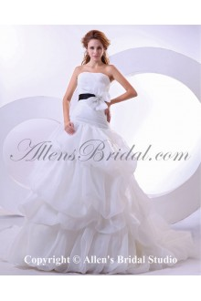Yarn and Satin Scoop Neckline Cathedral Train A-Line Wedding Dress with Pleat
