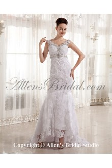 Satin and Lace V-Neck Court Train A-Line Wedding Dress with Embroidered