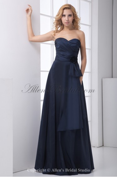 Taffeta Sweetheart A-Line Floor Length Flower and Sash Prom Dress