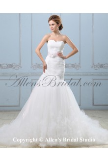 Satin and Tulle Sweetheart Chapel Train Mermaid Wedding Dress