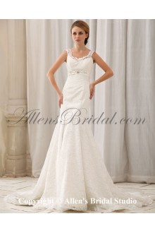 Satin and Lace Sweetheart Chapel Train Mermaid Wedding Dress with Embroidered