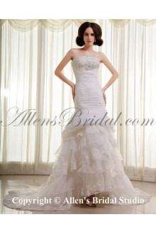 Organza and Lace Strapless Chapel Train Mermaid Wedding Dress with Beaded Ruffle and Embroidered