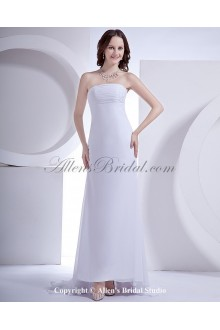 Satin and Chiffon Strapless Sweep Train A-Line Wedding Dress with