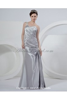Satin One-Shoulder Floor Length A-Line Wedding Dress with Ruffle
