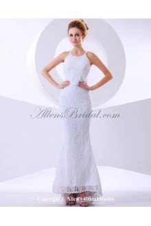 Lace Halter Neckline Ankle-Length Mermaid Wedding Dress with
