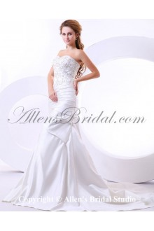 Satin Sweetheart Cathedral Train A-Line Wedding Dress