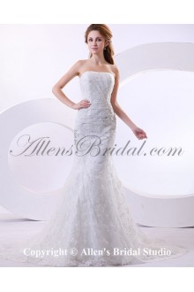 Satin and Lace Strapless Cathedral Train Mermaid Wedding Dress with Jacket