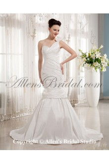 Satin One-Shoulder Court Train Mermaid Wedding Dress with Ruffle