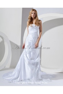 Satin and Lace Strapless Court Train A-Line Wedding Dress with Embroidered