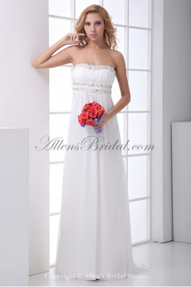 Chiffon Sweetheart Column Sweep Train Crystals Prom Dress