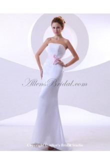 Satin Strapless Sweep Train Sheath Wedding Dress with Embroidered