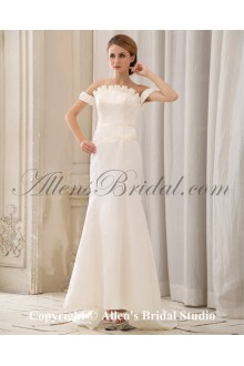 Satin Off-the-Shoudler Neckline Cathedral Train Sheath Wedding Dress with Pleated