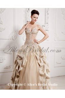 Organza and Satin Sweetheart Sweep Train Ball Gown Wedding Dress with Beaded and Ruffle