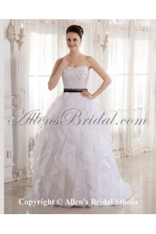 Organza Scoop Neckline Sweep Train Ball Gown Wedding Dress with Beaded and Sash
