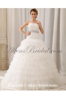 Gauze Strapless Monarch Train Ball Gown Wedding Dress with Embroidered