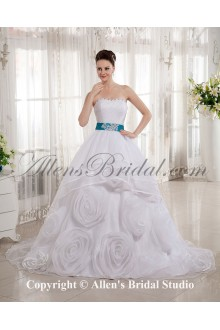 Organza Sweetheart Court Train Ball Gown Wedding Dress with Beaded and Flowers