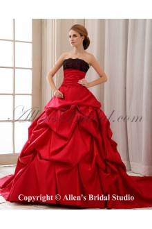 Satin and Lace Strapless Court Train Ball Gown Wedding Dress with Ruffle