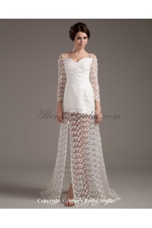 Satin and Lace Sweetheart Floor Length A-Line Wedding Dress with Long Sleeves