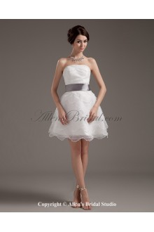 Yarn Strapless Short A-line Wedding Dress with Sash and Ruffle