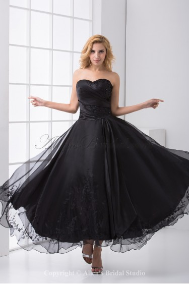 Organza Sweetheart A-Line Ankle-Length Embroidered Prom Dress