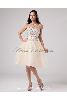 Yarn Sweetheart Knee-Length Ball Gown Wedding Dress with Embroidered