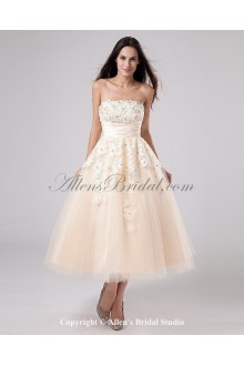 Satin and Yarn Strapless Tea-Length A-line Wedding Dress with Embroidered