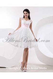 Satin and Tulle Bateau Neckline Knee-Length A-line Wedding Dress with Embroidered