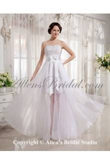 Tulle and Satin Sweetheart Floor Length A-line Wedding Dress