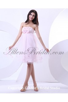Yarn and Satin Strapless Knee-length A-line Wedding Dress with Applique