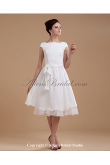 Chiffon Boat Neckline Knee-length A-line Wedding Dress with Sash and Ruffle