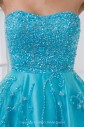 Net and Satin Strapless Neckline A-line Floor Length Embroidered and Sequins Prom Dress