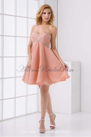 Chiffon Sweetheart Neckline Column Knee Lnegth Embroidered Cocktail Dress