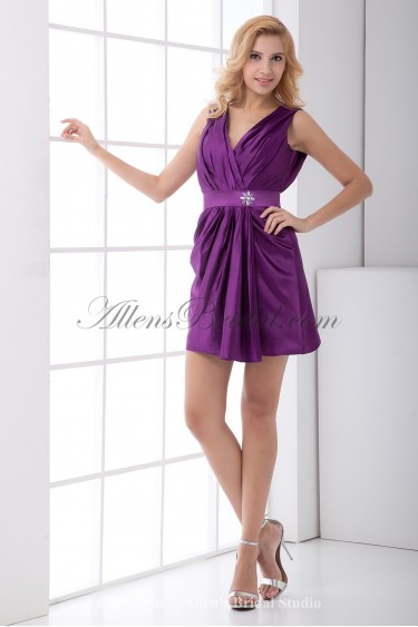 Satin V-Neckline Sheath Short Sash and Crystals Cocktail Dress