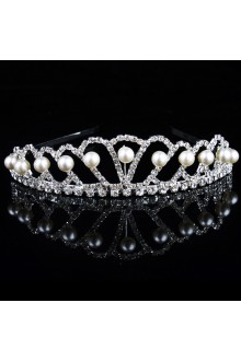 Gorgeous Alloy with Rhinestiones and Pearl Wedding Tiara