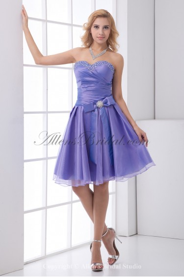 Organza Sweetheart A-Line Knee Lnegth Bow and Sequins Cocktail Dress