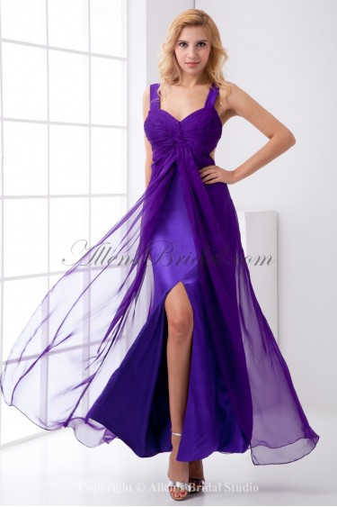 Chiffon Straps Column Ankle-Length Prom Dress