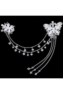 Alloy with Rhinestone and Zircon Butterfly Wedding Headpiece