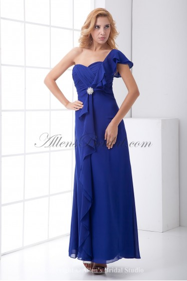 Chiffon One-Shoulder Column Ankle-Length Ruffle Prom Dress