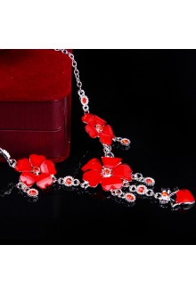 Red Zircons and Rhinestones with Alloy Wedding Jewelry Set, Including Earrings and Necklace