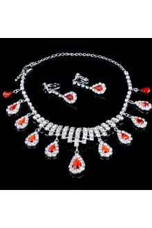 Shining Alloy with Rhinestones Wedding Jewelry Set,Including Earrings and Necklace
