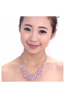 Beauitful Alloy with Pink Rhinestones Wedding Bridal Necklace