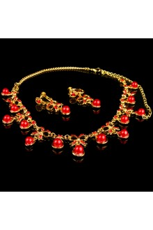 Red Rhinestones and Gold Alloy Wedding Jewelry Set,Including Necklace and Earrings