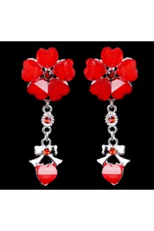 Beauitful Alloy with Red Glaze Wedding Bridal Earrings